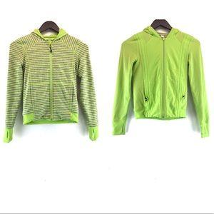 Ivivva Reversible Bright Green Striped Hood Jacket